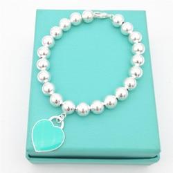 1: 1 Стерлинговое Серебро 925 Классические женские синие эмалированные в форме сердца 8 мм браслет из шариков ювелирные изделия Праздничный По...