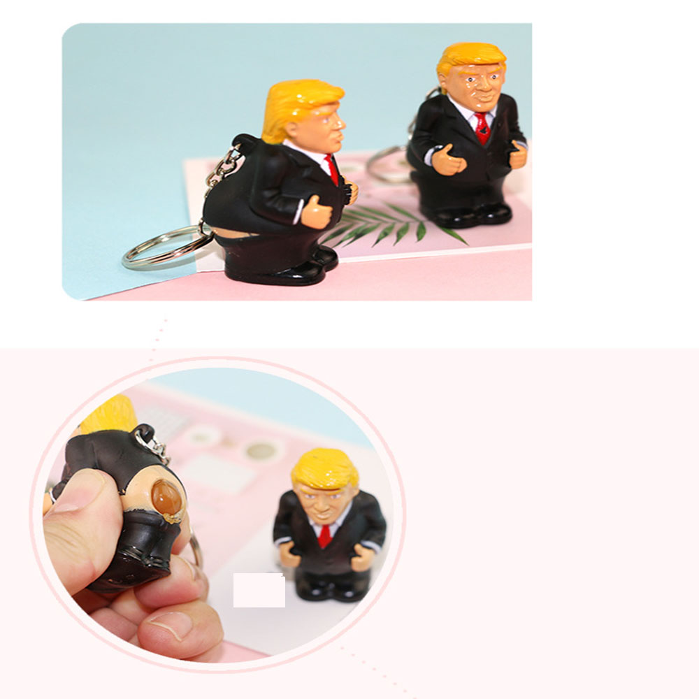 Keyring Funny Car Spoof Toy Simulation Poop Keychain President Donald Trump Doll Pendant