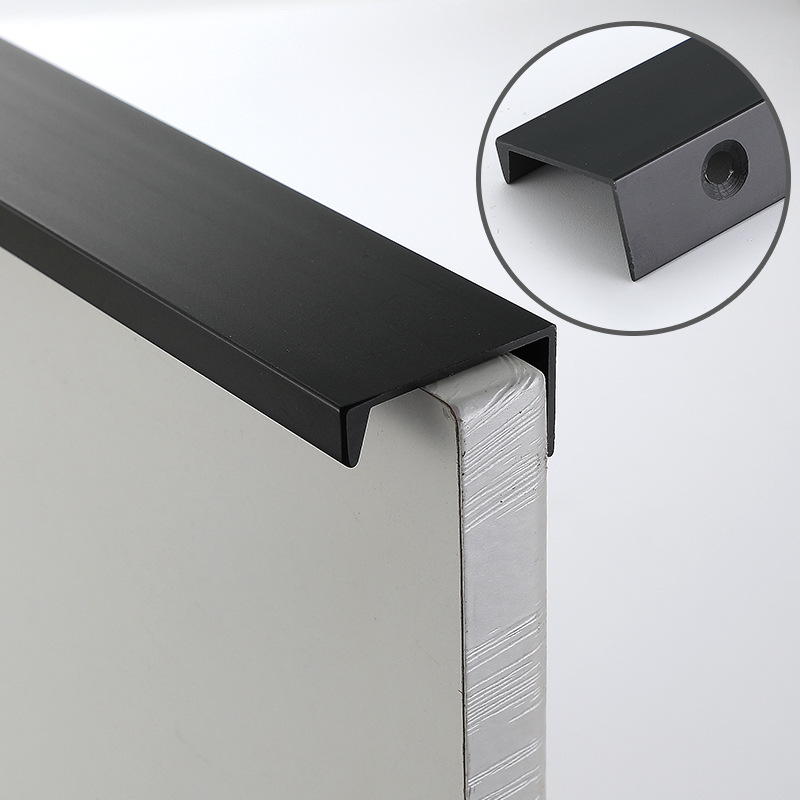Black Invisible Handle Free Punch Aluminum Handle Word Dark Handle Cabinet Closet Door Handle Hand In Hand