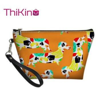 Thikin Dachshund Makeup Bags for Women Cosmetic Bag Cool Summer Travel Makeup Case Girls Pouch Animals Storage Purse Handbag