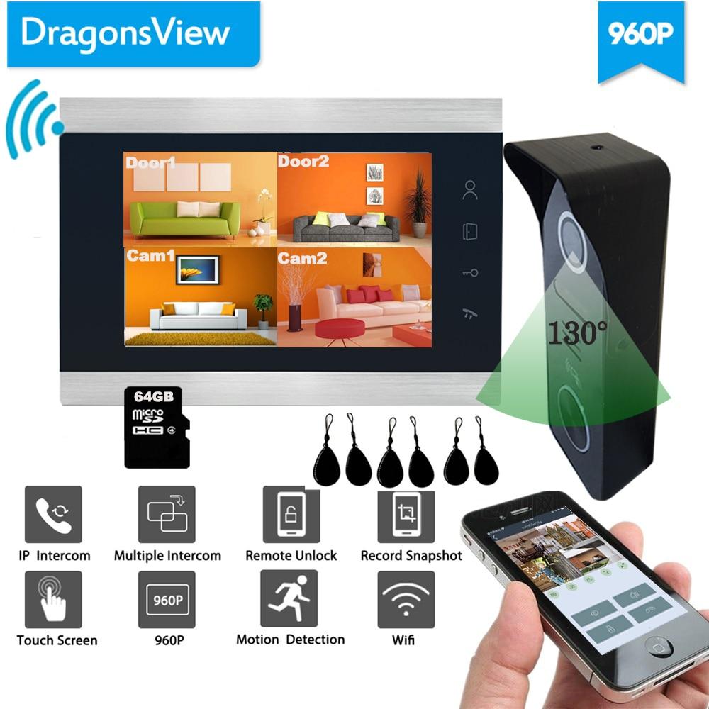 Dragonsview 7 Inch Video Door Phone Wifi Video Doorbell With Camera  Smart Wireless Home Intercom System Kit 960P AHD RFID