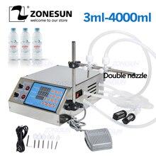 Zonesun elétrica controle digital bomba de enchimento líquido machinex para líquido perfume suco água óleo essencial com 2 cabeça
