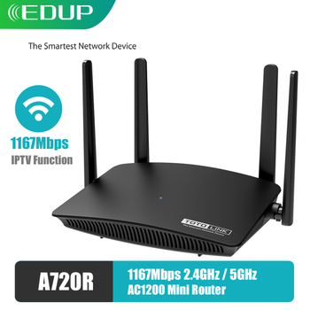used tp link tl wdr3320 600m 2 4 5ghz dual band wireless network router 4 antenna EDUP TOTOLINK WiFi Router AC1200M Dual Band 2.4GHz/5GHz 4 Antennas Wireless WiFi Network Extender A720R Support APP Manage IPTV