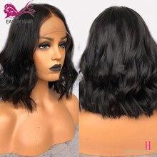 Bob Wigs Human-Hair Remy-Short Lace-Front Wavy Preplucked 13x6 Black-Women EAYON