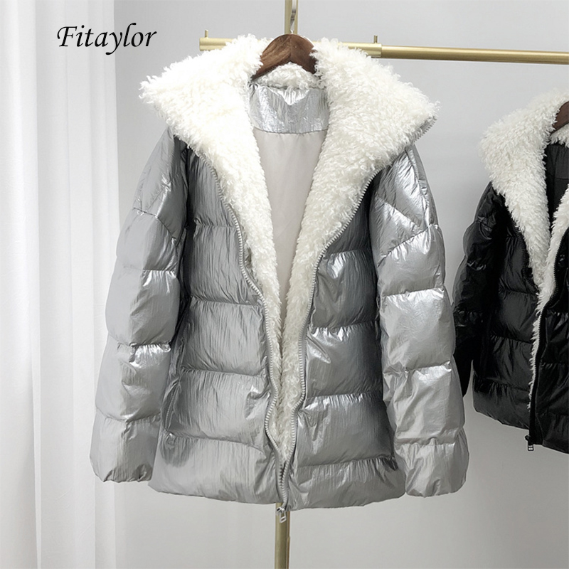 Fitaylor Winter Large Real Lamb Fur Glossy Silvery Down Jacket Women White Duck Down Parka Fur Collar Detachable Down Overcoat