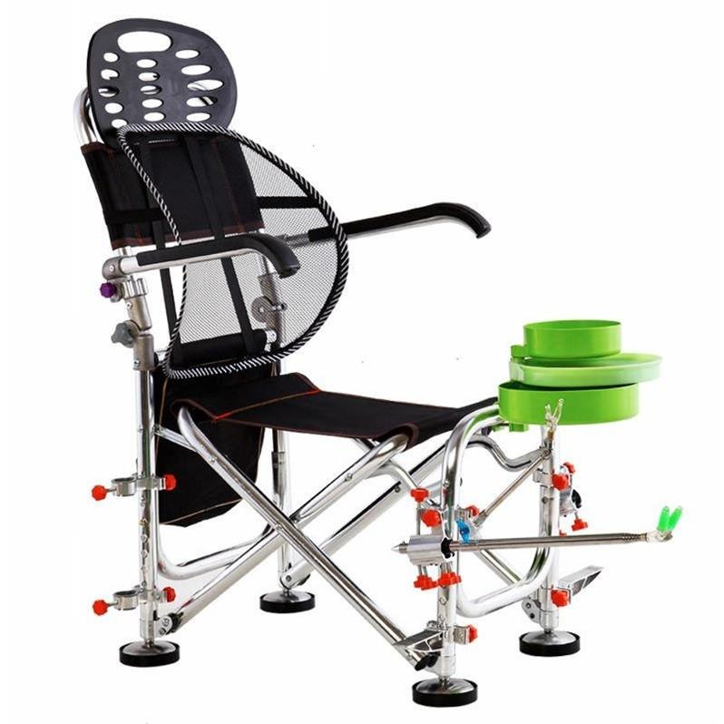 Outdoor Folding Fishing Chairs Rotatable Adjustment Portable Aluminum Alloy Chair With Fishing Rod Support