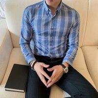 Plaid Camisa Hombre Slim Fit Mens Fashion Street Wear Retro Mens Casual Shirts Cotton Business Office Shirt Mens Check Clothing