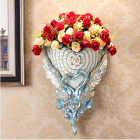 European style vase wall decoration, American retro creative home wall decoration pendant, three dimensional wall hanging flower
