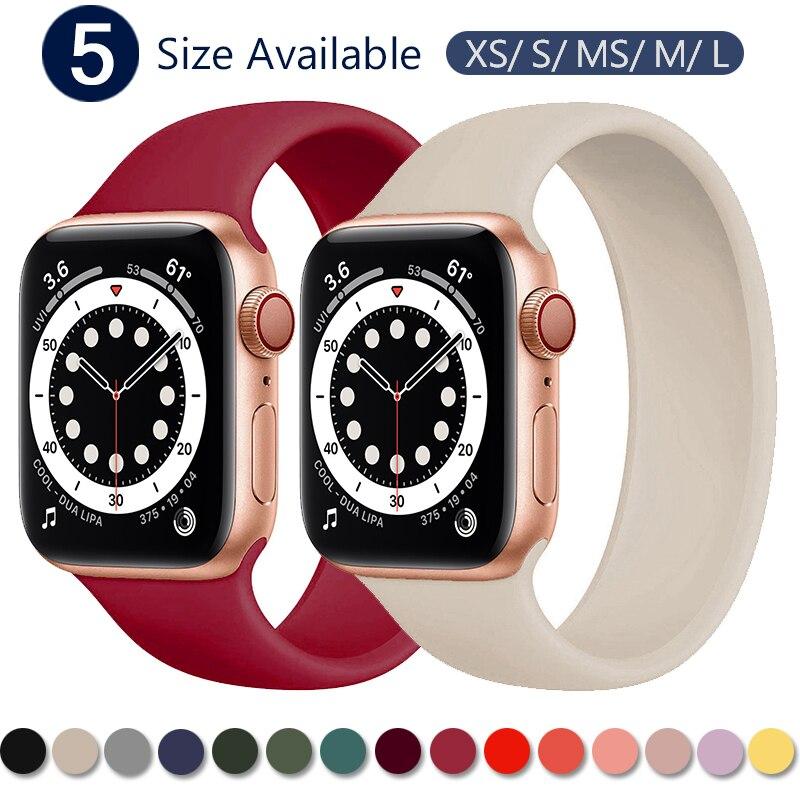 Pulseira para apple watch 5 banda 40mm 44mm iwatch serie 4/5/6/se elástico cinto de silicone solo loop pulseira apple relógio banda 42mm 38mm