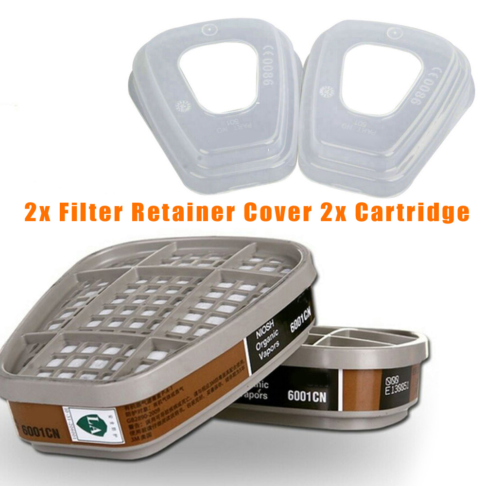 2x  For Gas Face Protector 501 Filter Retainer Cover & 6001 Organic Cartridge  Face Protector Filter Retainer Cover
