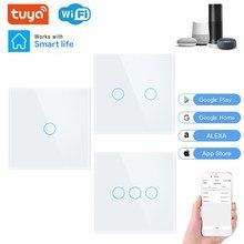 WIFI Wall Touch Sensor Switch EU RF433+ WIFI Smart Light Switch 1 2 3 Gang 220V Tuya Smart Home Kit Support Alexa Google Home