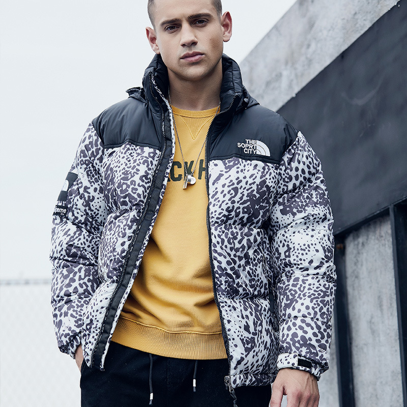 European And American Minimalist Autumn & Winter Men Hooded Thick Printed Lettered Down Jacket Cotton-padded Clothes Large Size