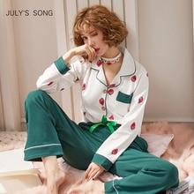 JULYS שיר נשים כותנה פיג מה סטי אביב סתיו החורף ארוך שרוול הלבשת הדפסת פיג מה עבור אישה 2 חתיכות Homewear