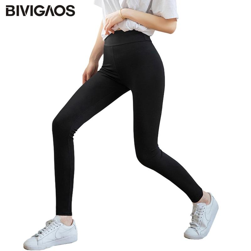 BIVIGAOS New Women Sharkskin Leggings Plus Size High Elastic Matt Black Workout Leggings Micro Pressure Fitness Sport Leggings
