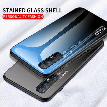 Перейти на Алиэкспресс и купить Градиентное закаленное стекло для OPPO Reno 3 Pro чехол для телефона жесткое стекло задняя крышка для OPPO Reno3 reno 3 ударопрочный Coques
