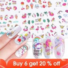 12 Uds. Pegatinas para uñas al agua flamenco diseño de dibujos animados, calcomanías deslizantes, herramienta de manicura, decoración artística de uñas, puntas de JIBN1057 1068