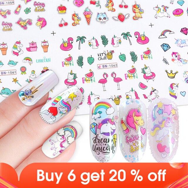 12pcs Water Nail Stickers Flamingo Cute Cartoon Design Water Decal Sliders Wraps Tool Manicure Nail Art Decor Tips JIBN1057 1068