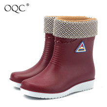 Купить с кэшбэком OQC Women's PVC Fur Warm Water Boots Middle Tube Solid Low Heel Rainy Boots Female Non-slip Waterproof Winter Outdoor Shoes D25
