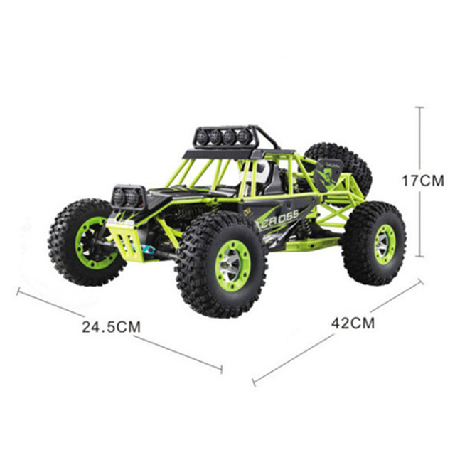 Wltoys 12428 RC Car 4WD 2.4Ghz 1:12 Radio Remote Control Crawler Off-road Model Toy High Speed 50km/h Vehicle With LED Light 6