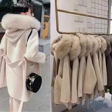 Корейское длинное кашемировое пальто с настоящим бренд Fox Fur Trim Hoodie теплое плотное пальто с большими карманами женская верхняя одежда зимнее пальто