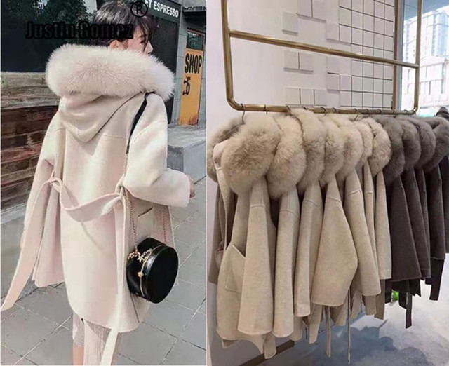 Brand famous Real Cashmere wool Coat With natural Fox Fur Trim Hoodie  ladies real fur Coats Outwear 1