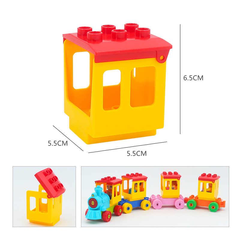 บล็อกขนาดใหญ่หัวรถจักรเรือด้านล่างตัวเลขอุปกรณ์เสริมของเล่นเด็กเมืองที่เข้ากันได้กับ DUPLO อิฐของเล่นของขวัญ