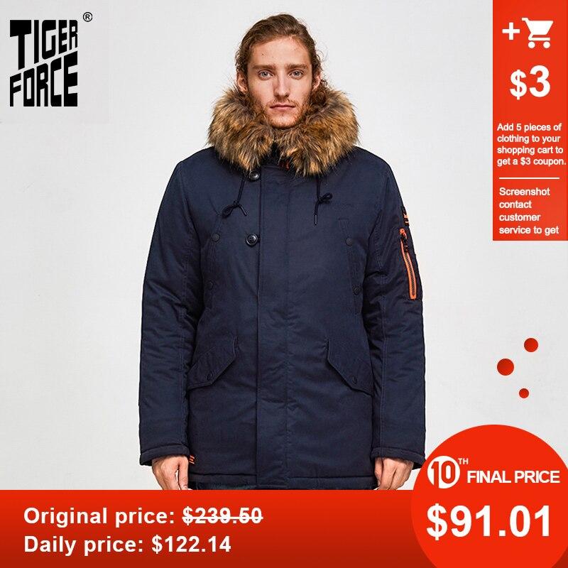 TIGER FORCE 2019 Men Winter Jacket Padded Parka Men's Warm Hooded Coat Big Pockets Thick Parkas Waterproof Outwear Plus Size