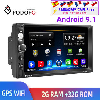 Podofo 2din Car Radio 2+32G Android GPS Navi Car Multimedia Player For VW TOYOTA GOLF Nissan Hyundai Kia CR-V autoradio image