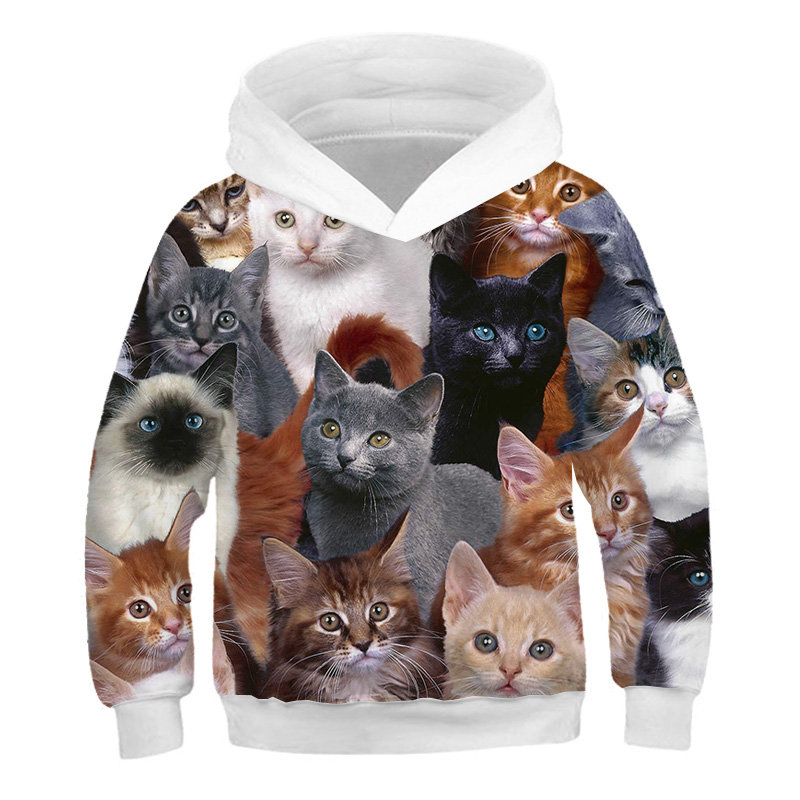 3D Print Cat Hoodies Kids Teens Long Sleeve Sweatshirts 3D Toddler Baby Boy Clothes Autumn Family Pullover Sweater Coat Tops 3