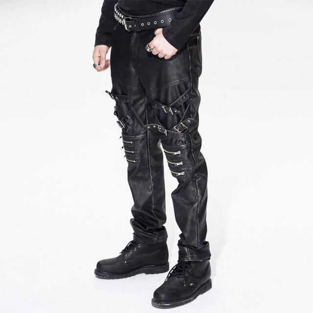 Devil Fashion Men Punk Rock Leather Pants Streetwear Casual Straight Trousers Male Fashion Hight Quality PU Casual Pants 25