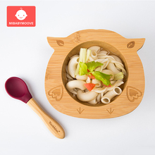 Baby Bamboo Suction Bowl Wooden Cartoon Child Feeding Bowl P