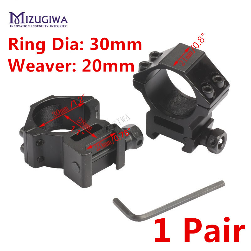 MIZUGIWA Scope Mount 30mm Rings Weaver 20mm Picatinny Rail For Optics Sight Pistol Airsoft Accessories Hunting Caza