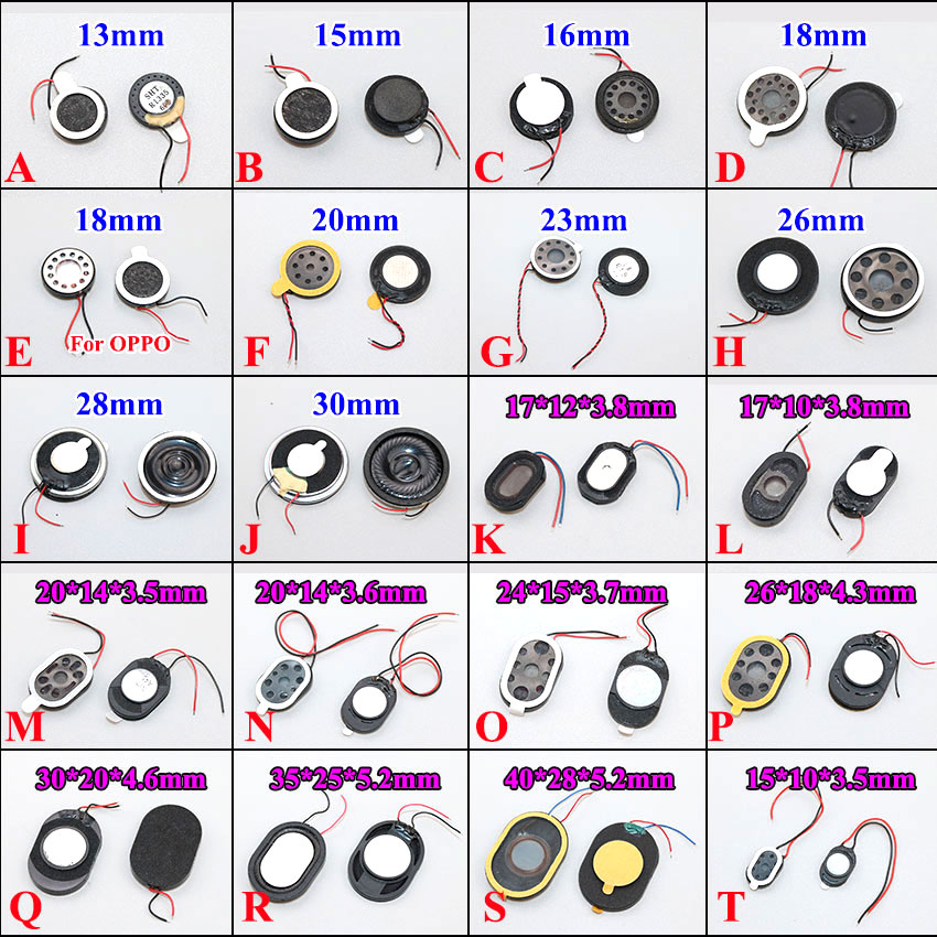 Round Loudspeaker 13mm 15mm 17 18 20 23 26mm 28 30 35 40 Mm Buzzer Ringer Sound Speaker Replacement For Cell Phone With Two Line