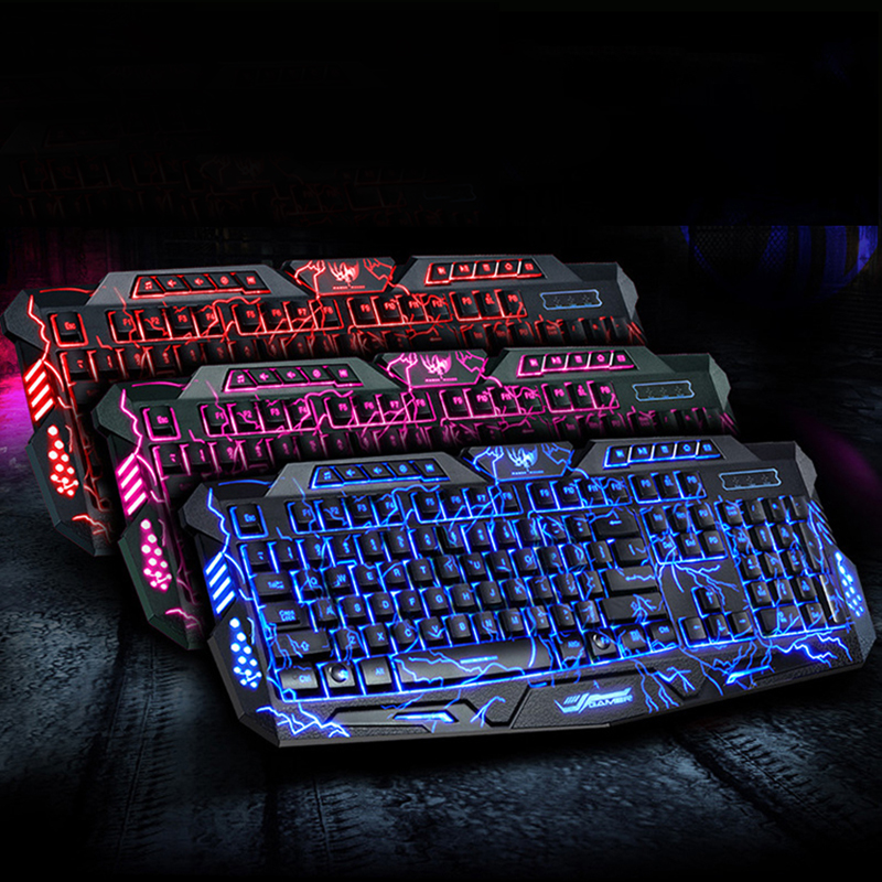 Mechanical Keyboard Mouse USB Wired Gaming Keyboard Mouse Cool LED 3-Color Colorful Breathing Backlit Waterproof Crack Keyboard