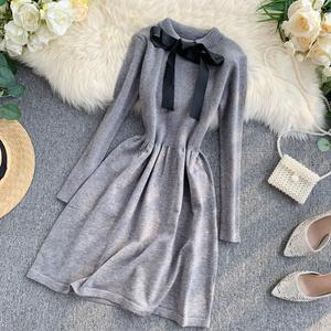 Image 5 - ALPHALMODA 2019 Autumn Butterfly Tie Knitted Long sleeved Dress Women Sweet Slender Waist Preppy Style Knitting Bottom Dress