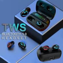 Q61 tws bluetooth sem fio fones de ouvido led power display digital esportes estéreo som fone com 1500mah caso carregamento