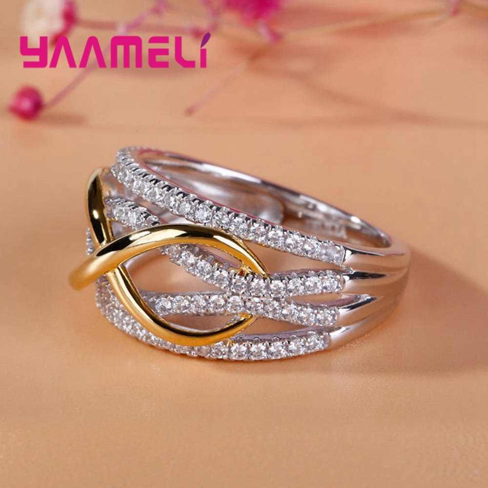 Anillos de plata 925 sólida de lujo para mujer con hueco número 8 joyería de amor infinito regalo de San Valentín gran promoción