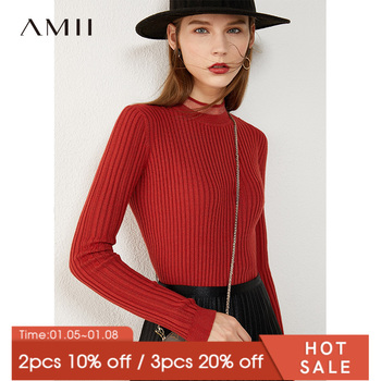 AMII Minimalism Autumn Fashion Women Sweater Causal Solid Stripe Slim Fit Turtleneck Female Pullover Tops 12030334 - discount item  45% OFF Sweaters