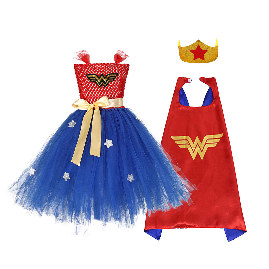 Summer Super Hero Inspired Girls Tutu Dress Superman Baby Costume Kids Cosplay Christmas Halloween Wonder Woman Dress+Mask+cape