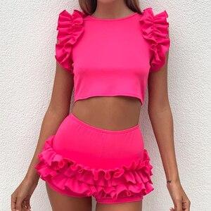 Image 4 - 2020 Women Spring Orange Sleeveless Ruffles Elastic O Neck 2 pcs Sets Crop Tops + Shorts Women Beach Playsuit