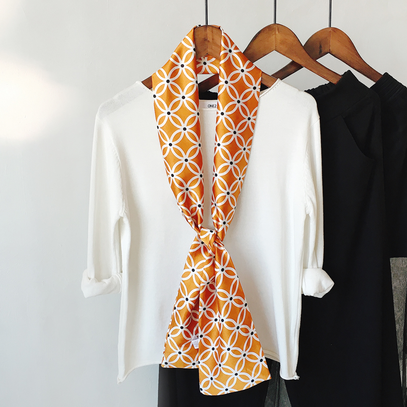 2020 Korea Spring New Striped Business Small Silk Scarf Women Narrow Versitile Fashion Printed Neckerchief Hair Scarf Bag Ribbon