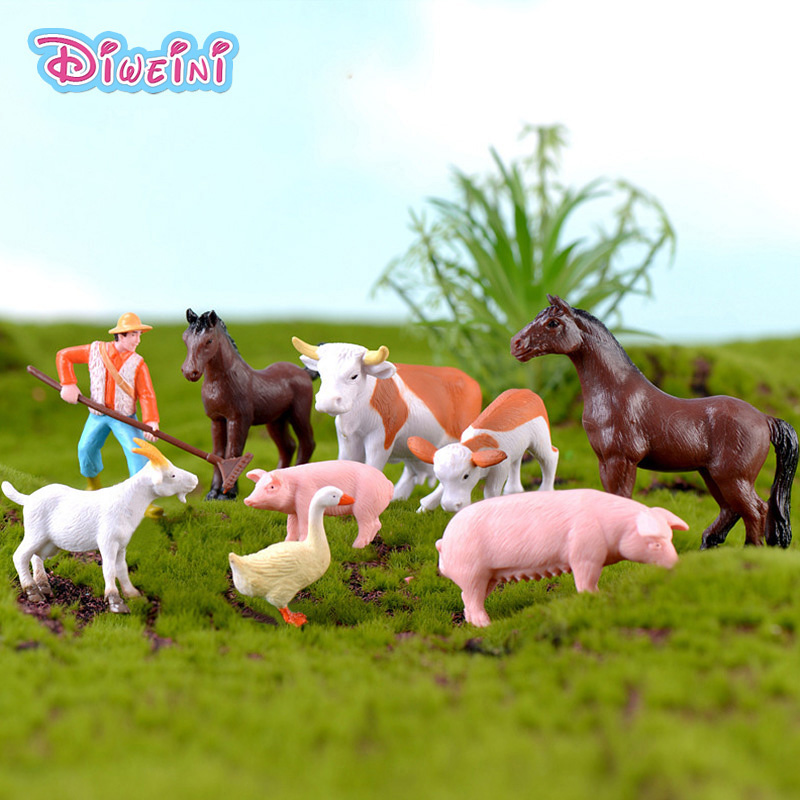 Simulation Model Mini Farmland Worker Duck Miniature Cartoon Figures Fairy Garden Decoration DIY Accessories Set Toys Gift Kids