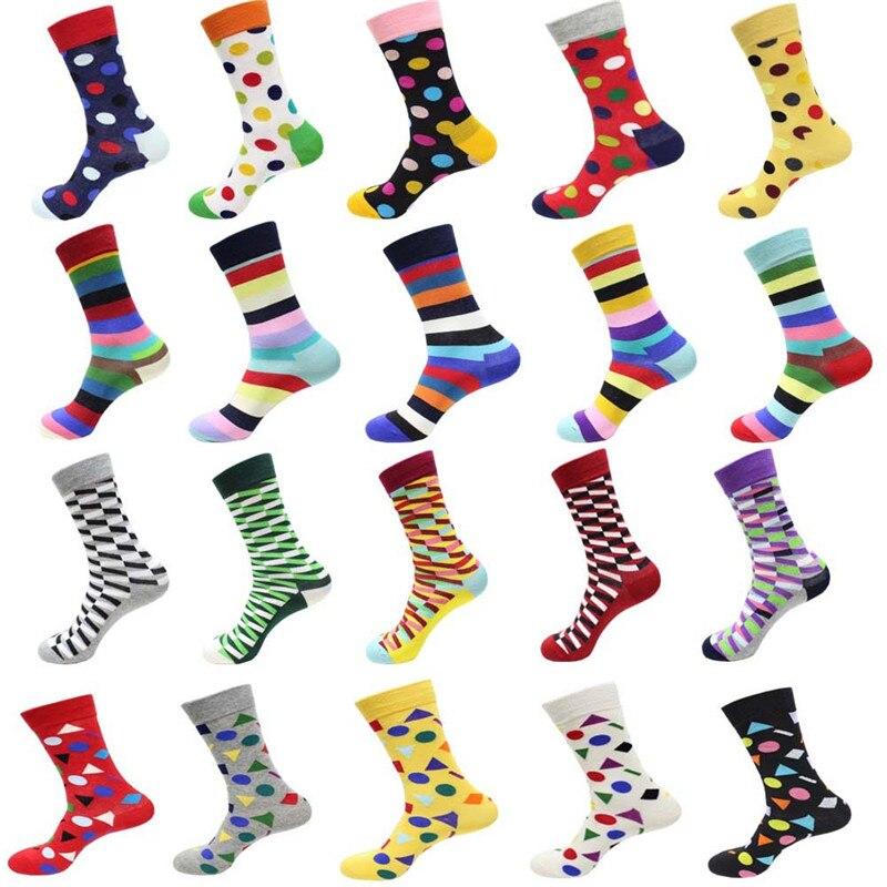 Hot Sale! Men Socks Long Autumn-winter Colorful Dot Cotton Sock Male And Men's Street Style Black Happy Socks