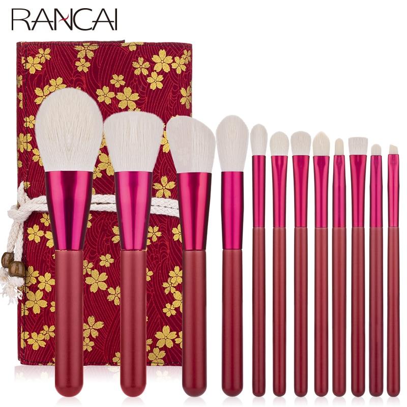 RANCAI 12pcs Makeup Brushes Set Foundation Powder Blush Eyeshadow Sponge Brush Soft Hair Cosmetic Tools With Leather Bag