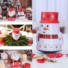 Hot Christmas Party Tumbler Candy Box Storage Iron Tin Can Jar Gift Home Decor FQ-ing
