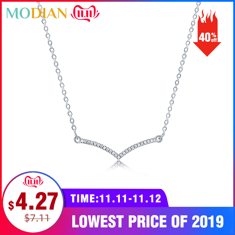Modian Simple Fashion Cubic Zirconia Pendant Real 925 Sterling Silver Chain Link Chain Necklace For Women Wedding Silver Jewelry