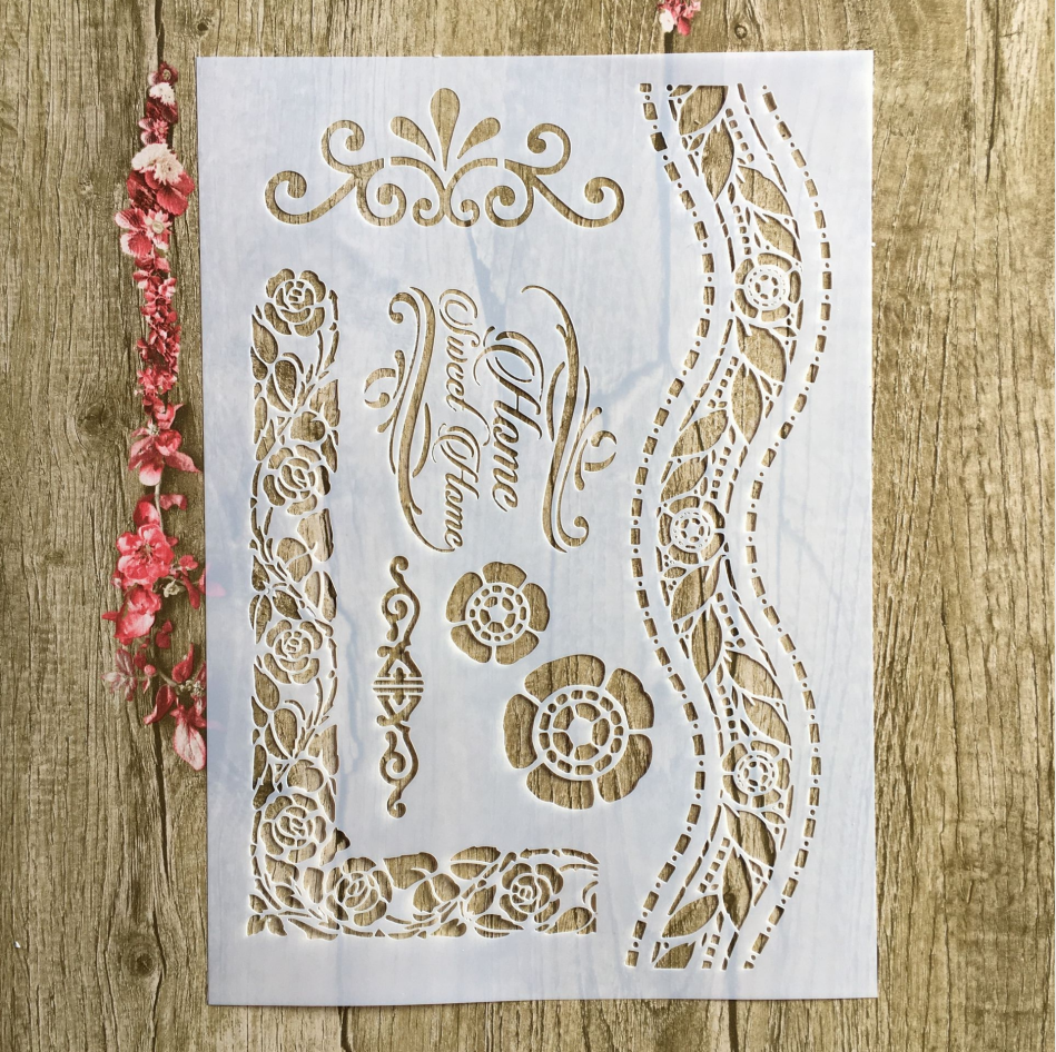 A4 29 * 21cm Flowers Floral Stencils Wall Painting Scrapbook Coloring Embossing Album Decorative Paper Card Template