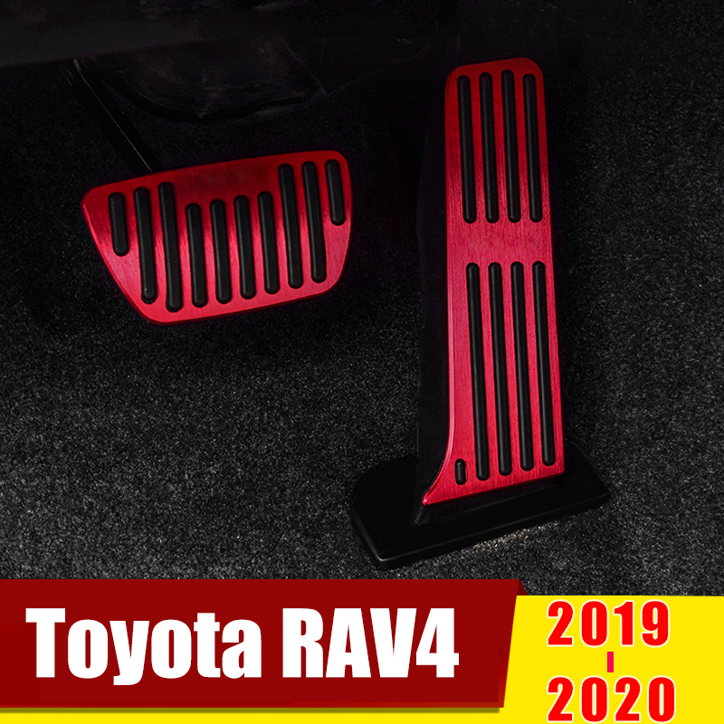 For TOYOTA RAV4 2019 2020 Car Styling Accelerator Gas Pedal Brake Pedals Non Drilling Cover Footrest Case Pads Trim Accessories-in Pedals from Automobiles & Motorcycles