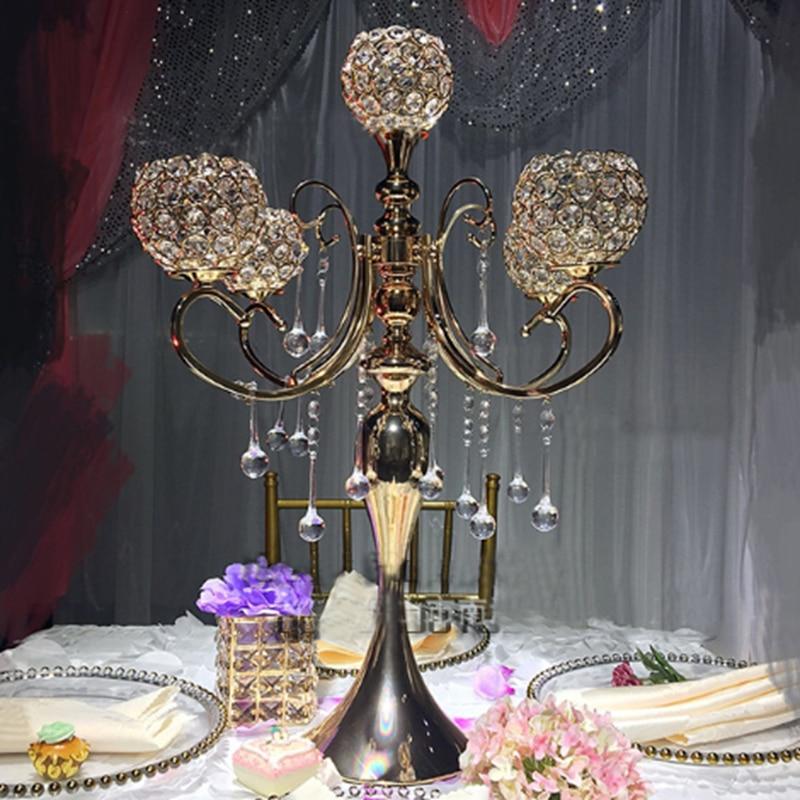 Украшение для свадебного стола по центру 5 рук хрустальный канделябр, держатель для свечей канделябр с Кристальные капли