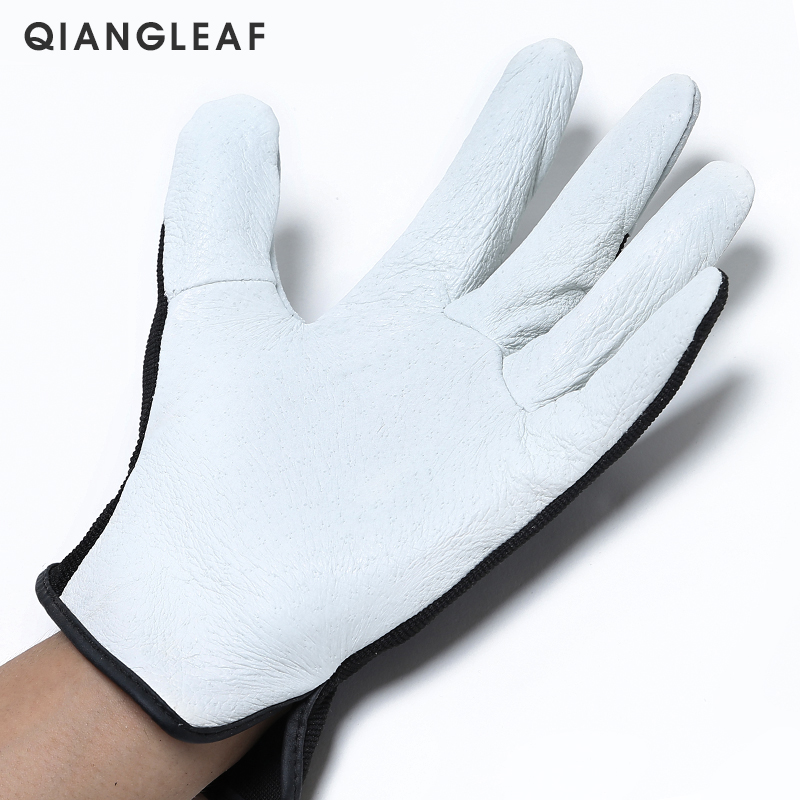 Image 3 - QIANGLEAF Hot Product Pigskin Leather Working Safety Glove Coat Leather Gardening Glove Mechanic Work Gloves 9530-in Safety Gloves from Security & Protection